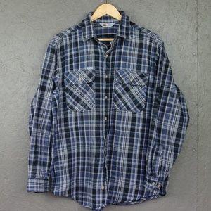Carhartt Gray & Blue Plaid Flannel Shirt